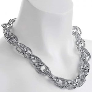 Silver plated oversized chunky large textured rope choker chain necklace