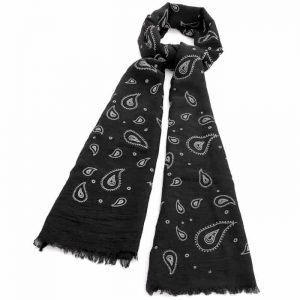 Black and white colour paisley print fashion scarf
