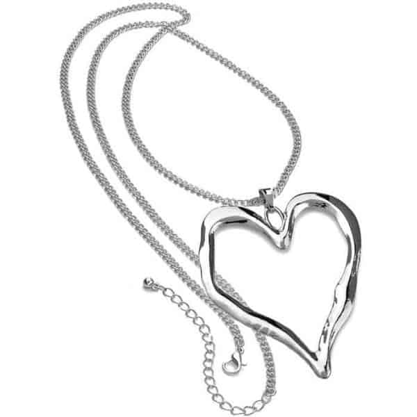 Lagenlook silver chunky large love heart pendant long necklace