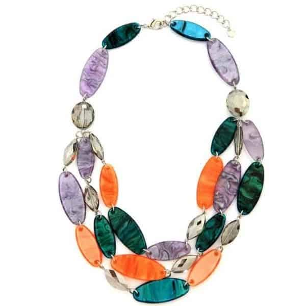 A layered necklace full of oval acrylics with glazed colour effects