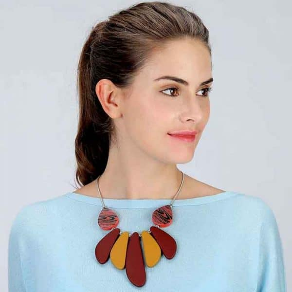 Large chunky acrylic resin statement tribal necklace