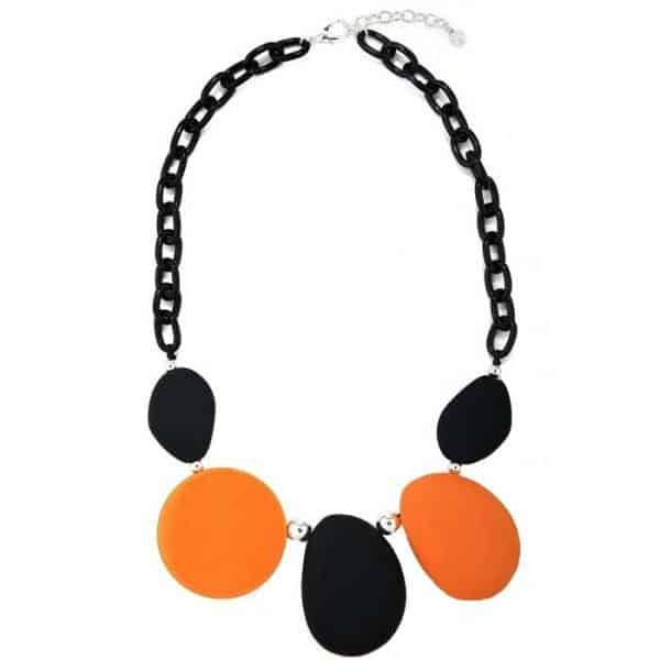 Large acrylic in black and orange colour necklace