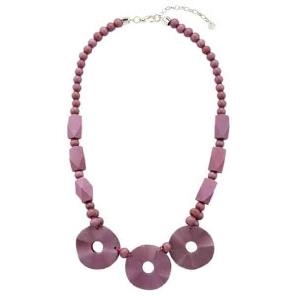 Purple wooden beaded statement necklace
