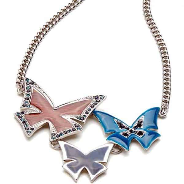 Colourful enamel butterflies with crystal set silver plated necklace
