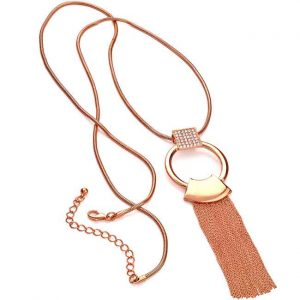 Stunning rose gold plated crystal chain tassel long length necklace