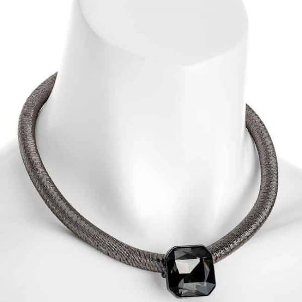 Hematite colour thread design rope and crystal choker necklace