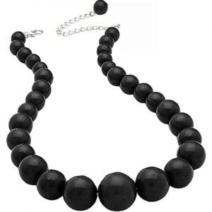 Black colour graduated bead choker necklace