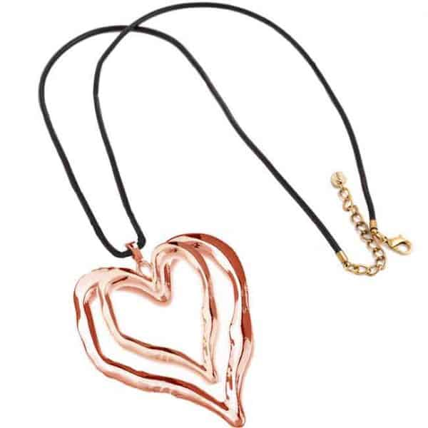 Lagenlook rose gold large double heart pendant black leather necklace