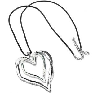 Lagenlook silver large double heart pendant black leather necklace