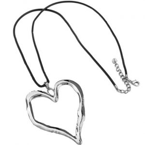 Lagenlook silver chunky large love heart pendant black leather necklace