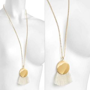 Round disc with white cotton tassel gold colour chain long necklace