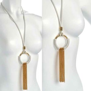 Lagenlook white suede tassel circle design pendant necklace