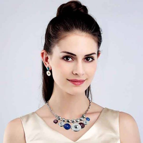 Beautiful quality enamel circle design necklace and earring costume jewellery set