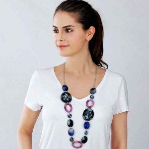 Beautiful large blue and pink large shaped acrylic long necklace