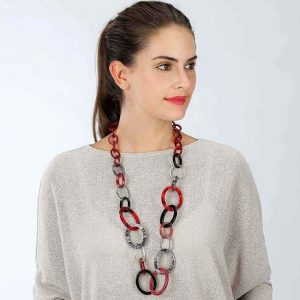 Beautiful long necklace full of  large interlinked hoops fashion jewellery