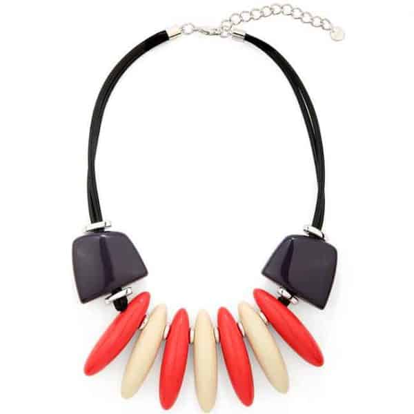 Large chunky colourful acrylic oval spiked choker cord necklace