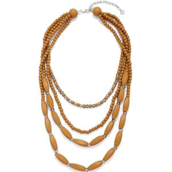 Brown coloured wooden beaded and crystal layered necklace