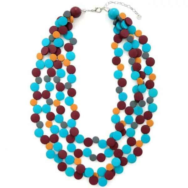 Stunning layered multicoloured circular beads statement necklace