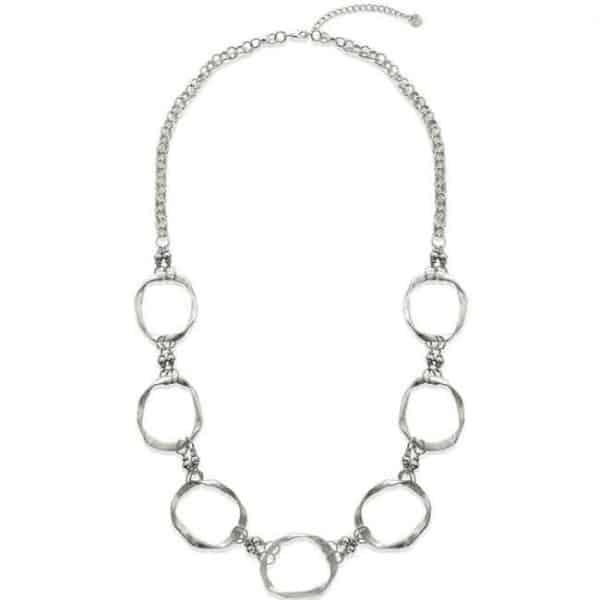 large silver colour ring hoop long chain necklace