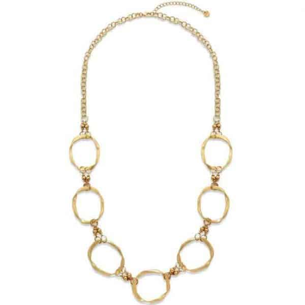 Large gold colour ring hoop long chain necklace