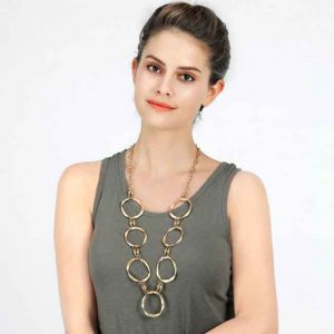 Lagenlook large gold colour ring hoop long chain necklace