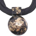 Black and gold large distinctive pendant choker necklace