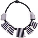 Beautiful black and white striped beaded choker necklace