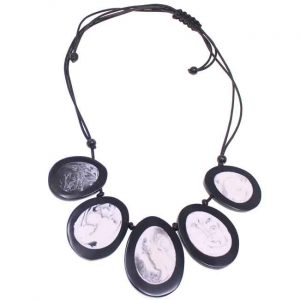 Beautiful black and white statement extendable cord necklace