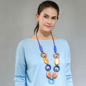 Fashion jewellery acrylic of orange hoops and blue long necklace