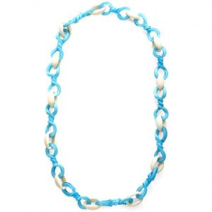 Turquoise and white large twisted acrylic link long necklace