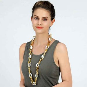 Brown and beige large twisted acrylic link long necklace