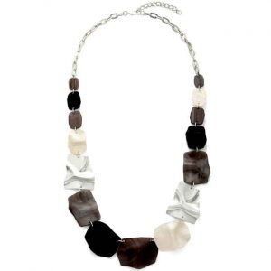 Gorgeous graduated large irregular acrylic shaped on a metal long necklace