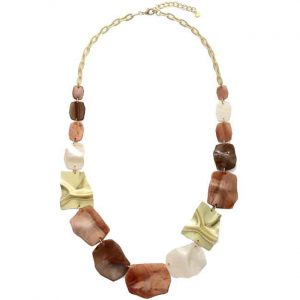Stunning large colourful irregular shaped acrylic and metal long necklace