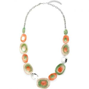 Beautiful vibrant pastel colour acrylic long chain necklace