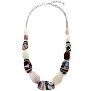 Graduated large colourful acrylic irregular shaped pebble design long necklace