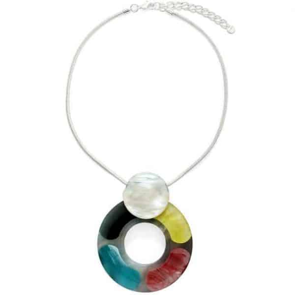 Very large rainbow tone pendant on a silver colour chain choker necklace