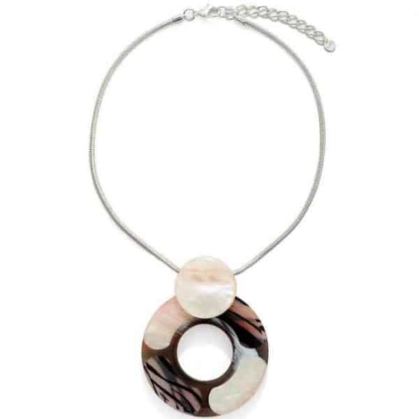 Very large brown and mother of pearl tone pendant on a silver chain choker necklace