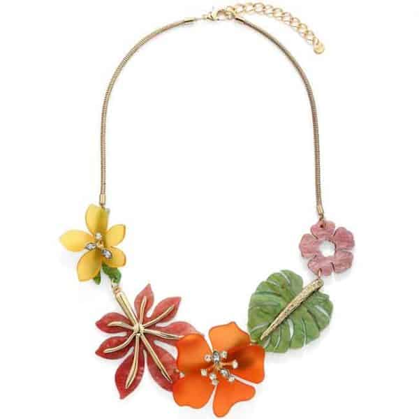 Large colourful acrylic flower and leaves gold colour necklace