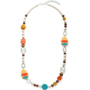 Colourful unusual acrylic and metal shape charm beads on a long necklace