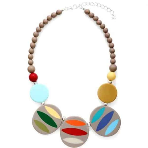 Tribal large chunky acrylic multicolour bead and disc choker necklace