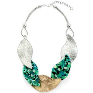 Green acrylic large leaves with gold and silver colours on a choker necklace