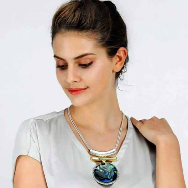 Extremely large artistic blue tone pendant on a silver colour double chain necklace costume jewellery