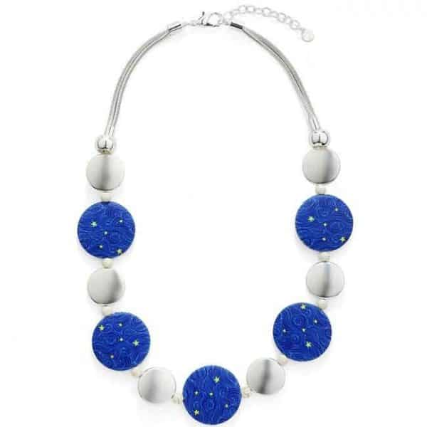 Blue colour discs on a beaded wooden and metal choker necklace