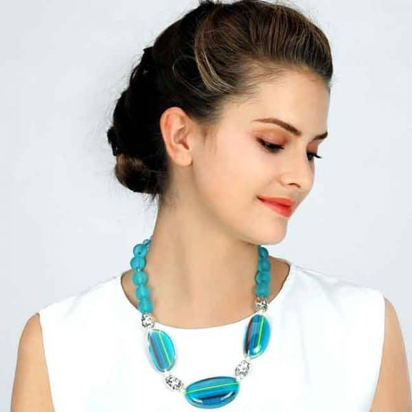 Coloured acrylic striped pattern and bead choker necklace