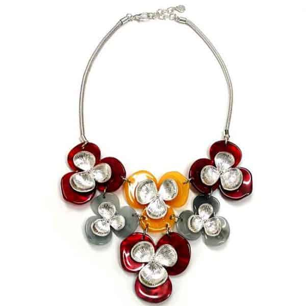 Large colourful acrylic including metal flower silver colour choker necklace