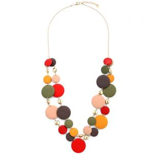 Stunning multicolour wood disc layered long chain necklace