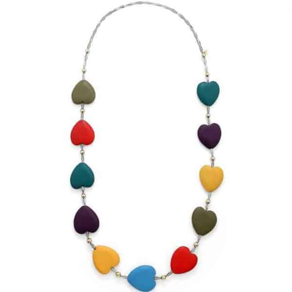 Multicoloured large chunky wooden heart charm long necklace