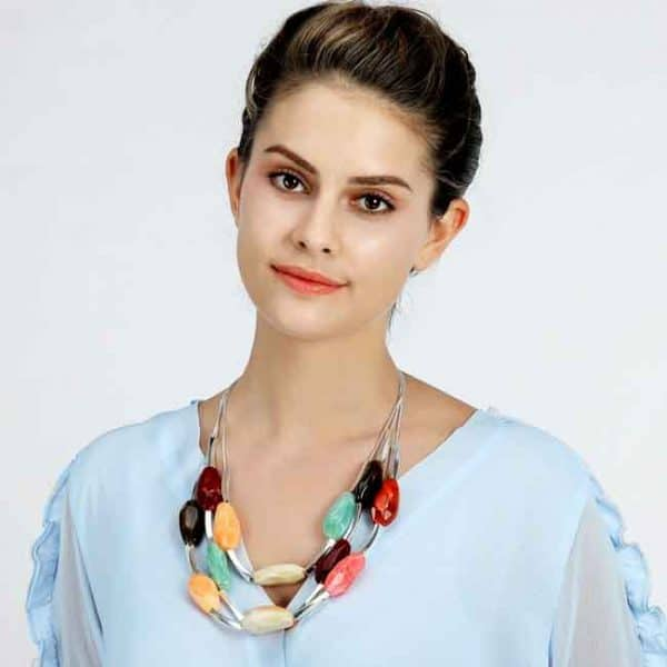 Beautiful layered silver colour necklace full of chunky colourful acrylics costume jewellery
