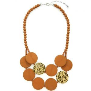Brown leopard print chunky flat circle shape on a beaded wooden necklace