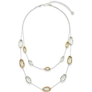 Lovely layered chain with open oval charms choker necklace